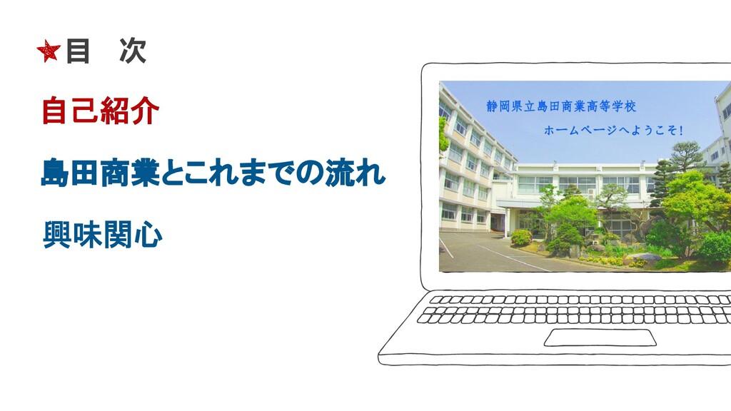 目 次 自己紹介 島田商業とこれまでの流れ 興味関心 自己紹介
