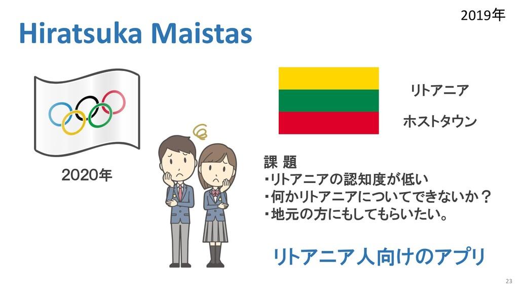 23 Hiratsuka Maistas 2020年 課 題 ・リトアニアの認知度が低い ・何...