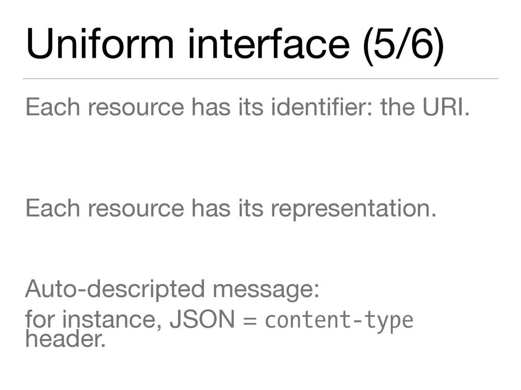 Uniform interface (5/6) Each resource has its i...