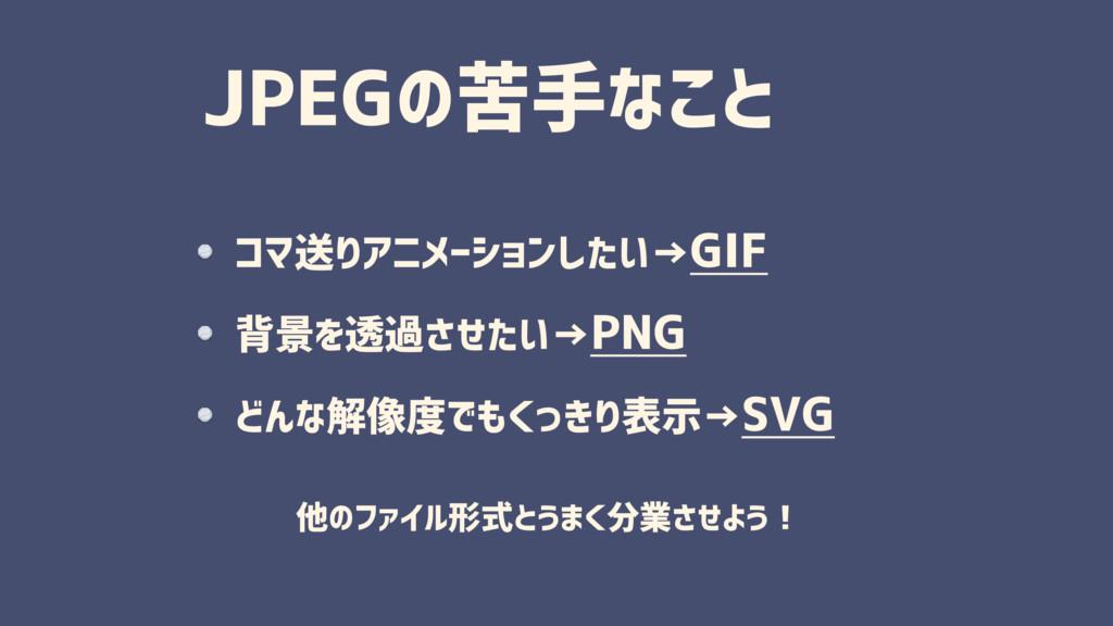 JPEGの苦手なこと コマ送りアニメーションしたい→GIF 背景を透過させたい→PNG どんな...