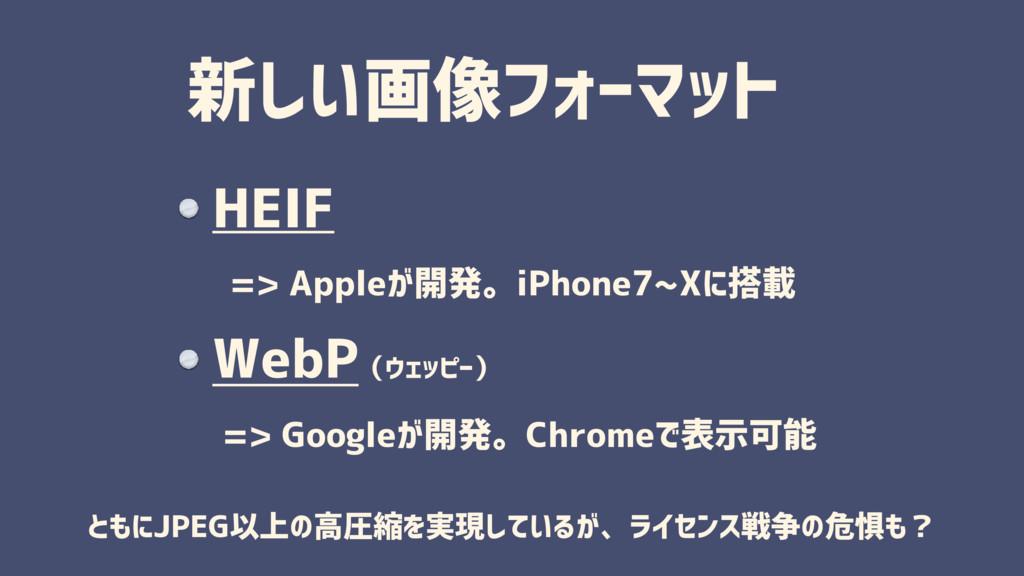 新しい画像フォーマット HEIF  => Appleが開発。iPhone7~Xに搭載 WebP...