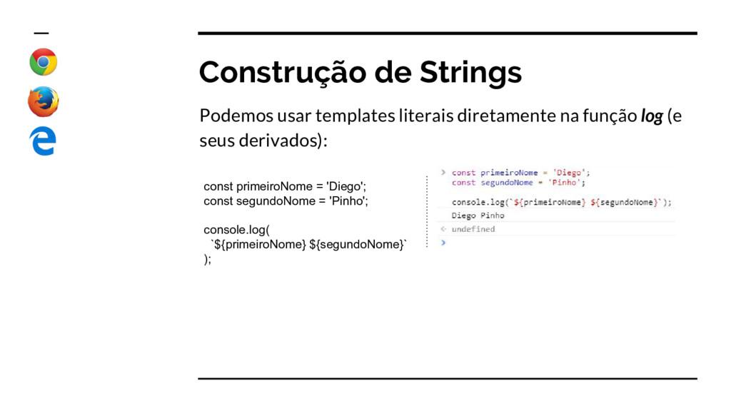 Construção de Strings Podemos usar templates li...