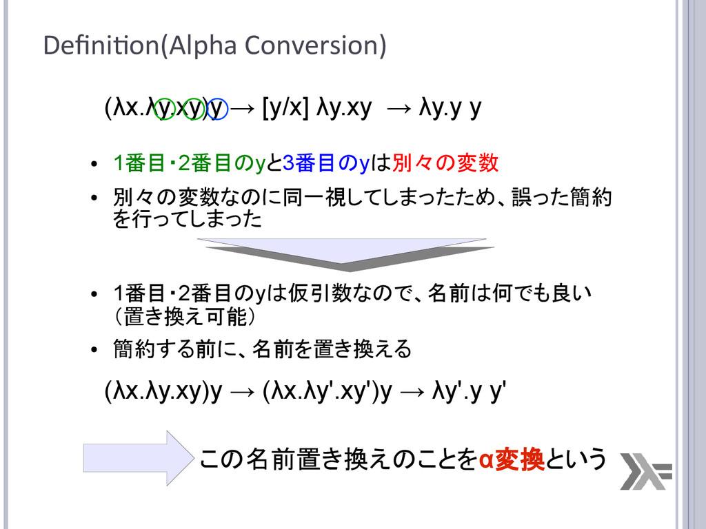 Definition(Alpha Conversion) (λx.λy.xy)y → [y/x...