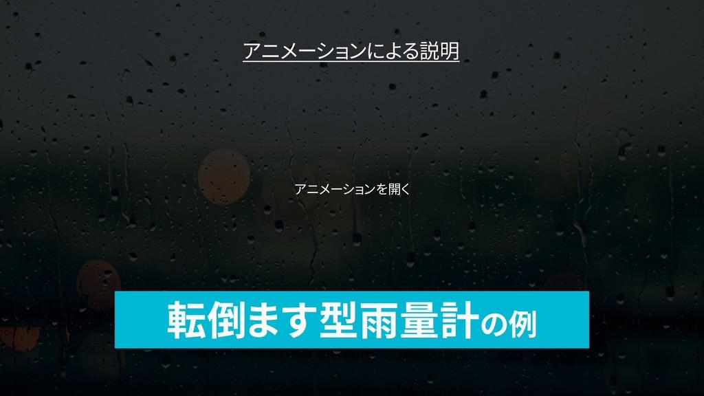 転倒ます型雨量計の例 アニメーションによる説明 アニメーションを開く