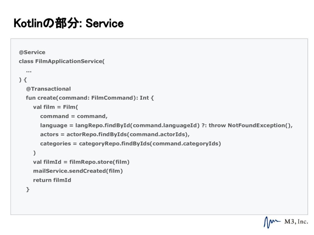 Kotlinの部分: Service @Service class FilmApplicati...