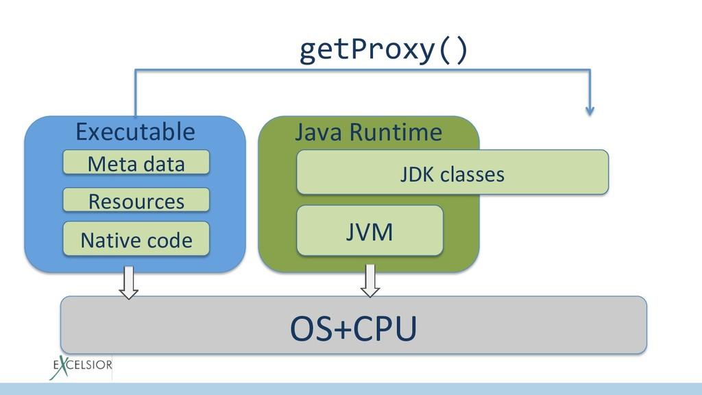 Executable Meta data Native code Resources Java...