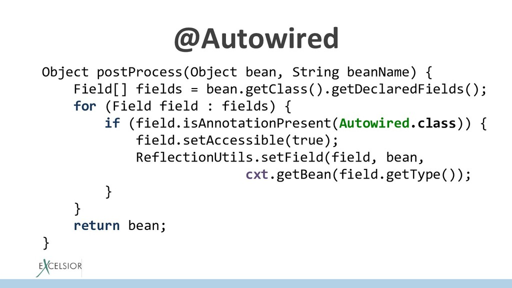 @Autowired Object postProcess(Object bean, Stri...
