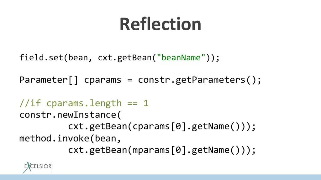 """Reflection field.set(bean, cxt.getBean(""""beanNam..."""
