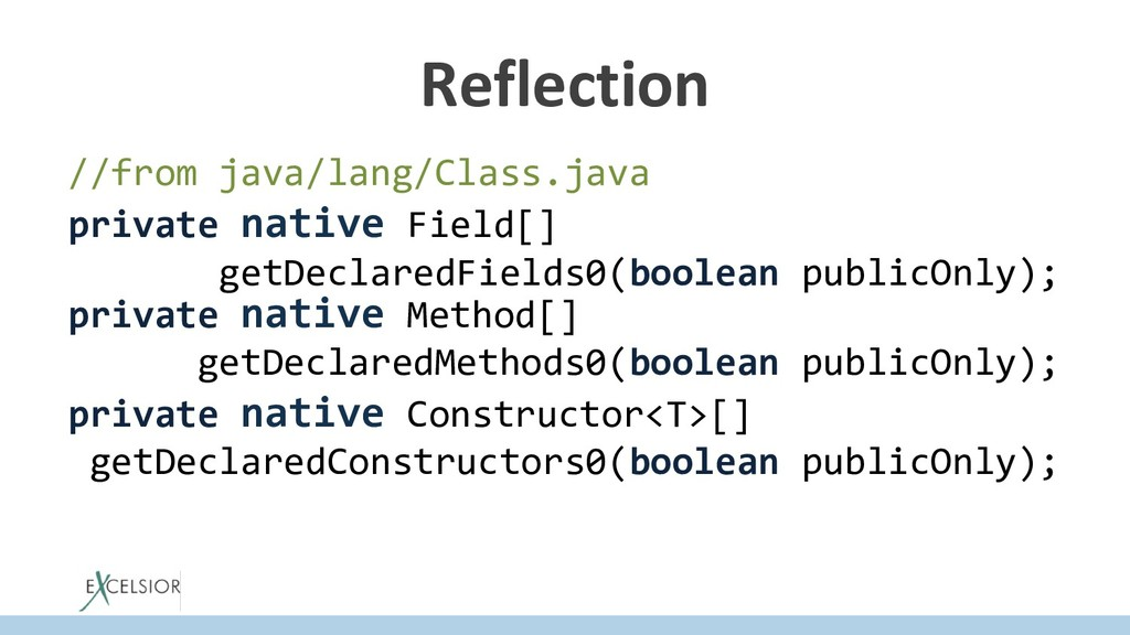 Reflection //from java/lang/Class.java private ...