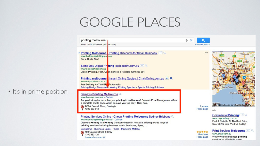 GOOGLE PLACES • It's in prime position