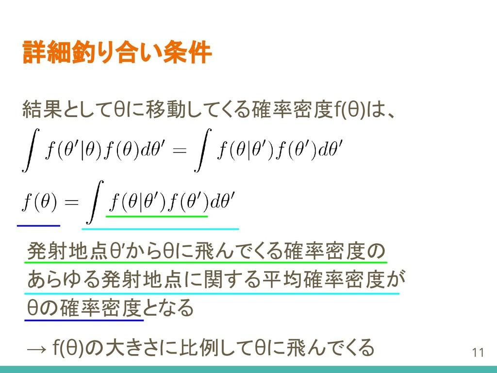 詳細釣り合い条件 結果としてθに移動してくる確率密度f(θ)は、 11 発射地点θ'からθに飛...