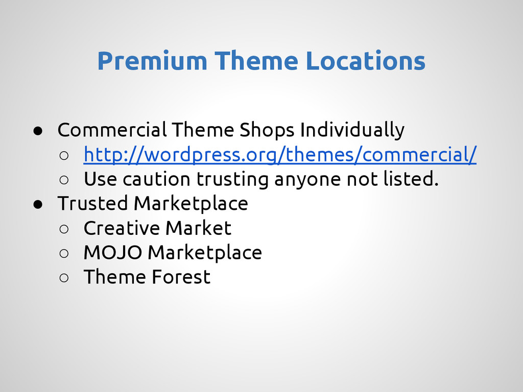 ● Commercial Theme Shops Individually ○ http://...