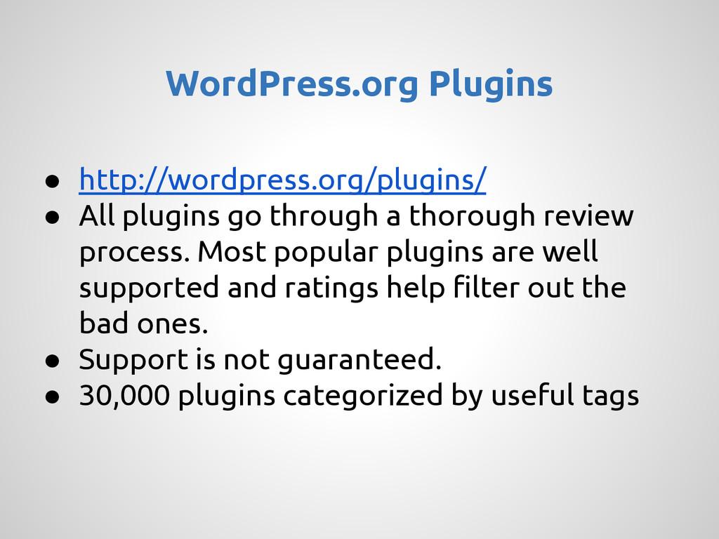 ● http://wordpress.org/plugins/ ● All plugins g...