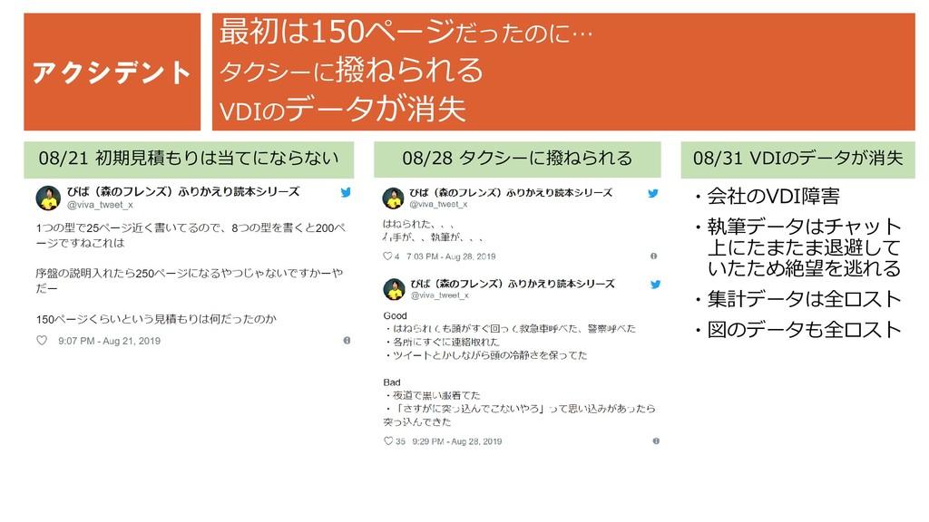 アクシデント 08/28 タクシーに撥ねられる ・会社のVDI障害 ・執筆データはチャット 上...