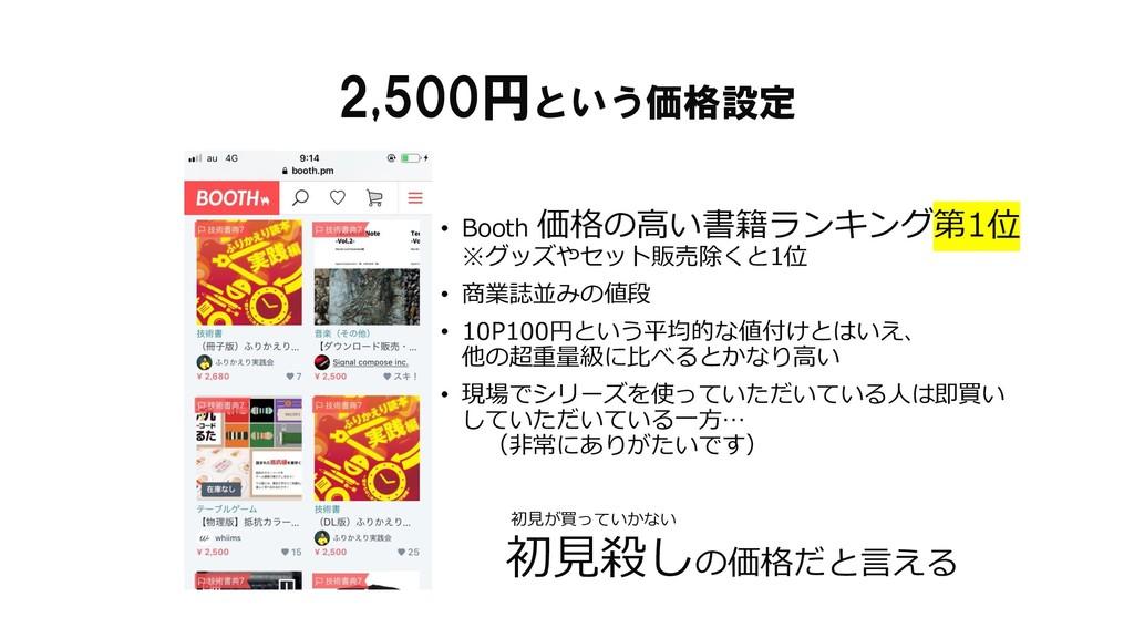 2,500円という価格設定 • Booth 価格の高い書籍ランキング第1位 ※グッズやセット販...