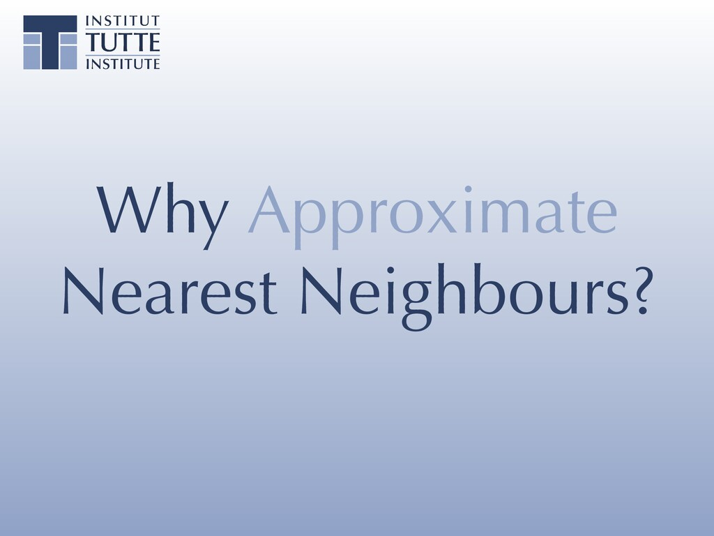 Why Approximate Nearest Neighbours?