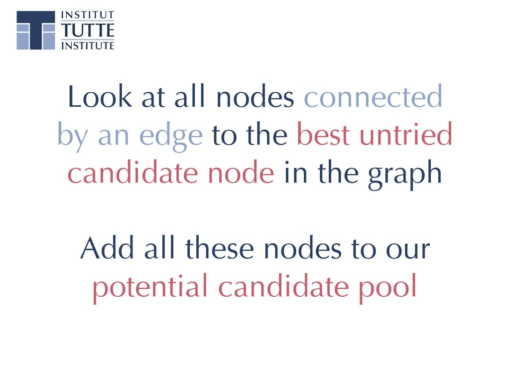 Look at all nodes connected by an edge to the b...
