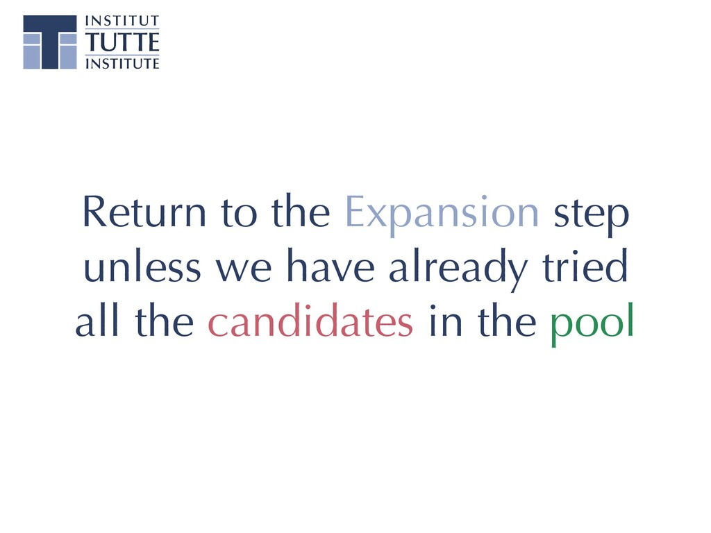 Return to the Expansion step unless we have alr...