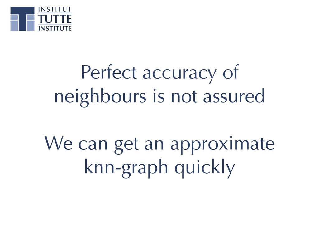 Perfect accuracy of neighbours is not assured  ...
