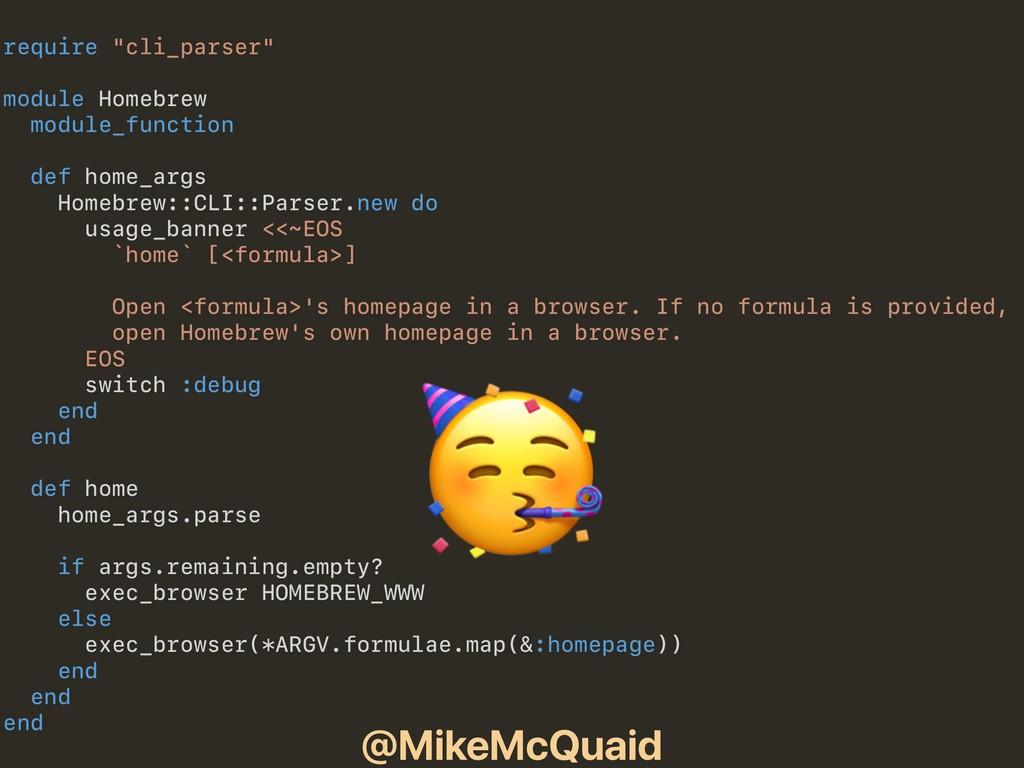 "@MikeMcQuaid require ""cli_parser"" module Homebr..."