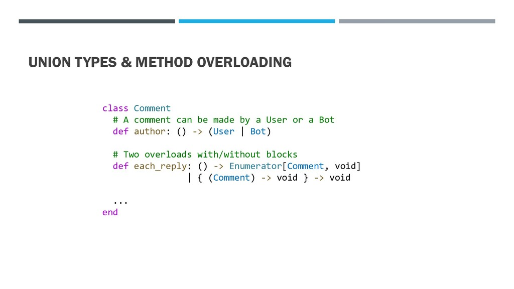 UNION TYPES & METHOD OVERLOADING class Comment ...