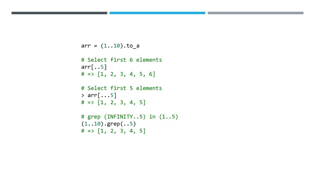 arr = (1..10).to_a # Select first 6 elements ar...