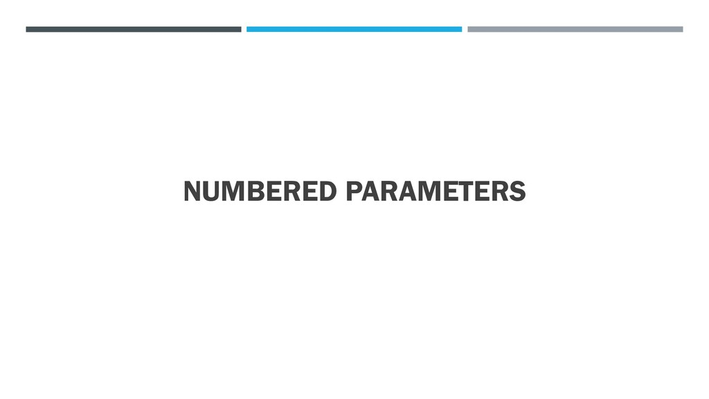 NUMBERED PARAMETERS