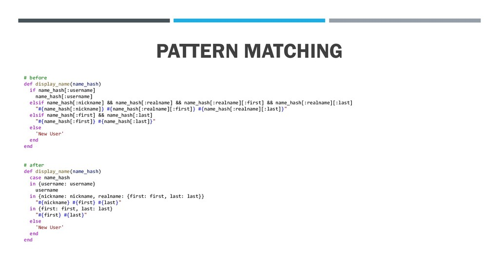 PATTERN MATCHING # before def display_name(name...