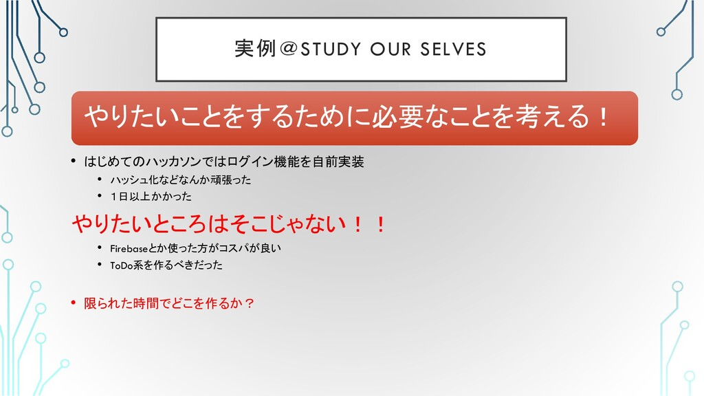 実例@STUDY OUR SELVES • はじめてのハッカソンではログイン機能を自前実装 •...
