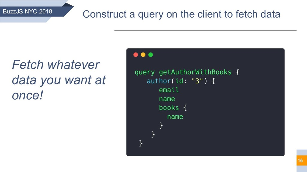16 BuzzJS NYC 2018 Construct a query on the cli...