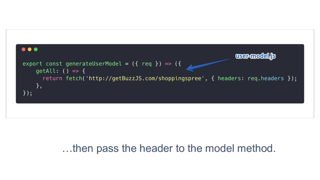 59 …then pass the header to the model method.