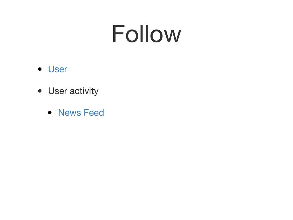 Follow • User • User activity • News Feed
