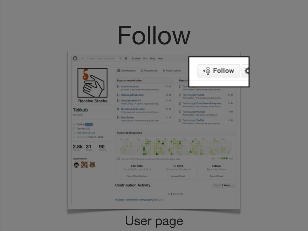 User page Follow