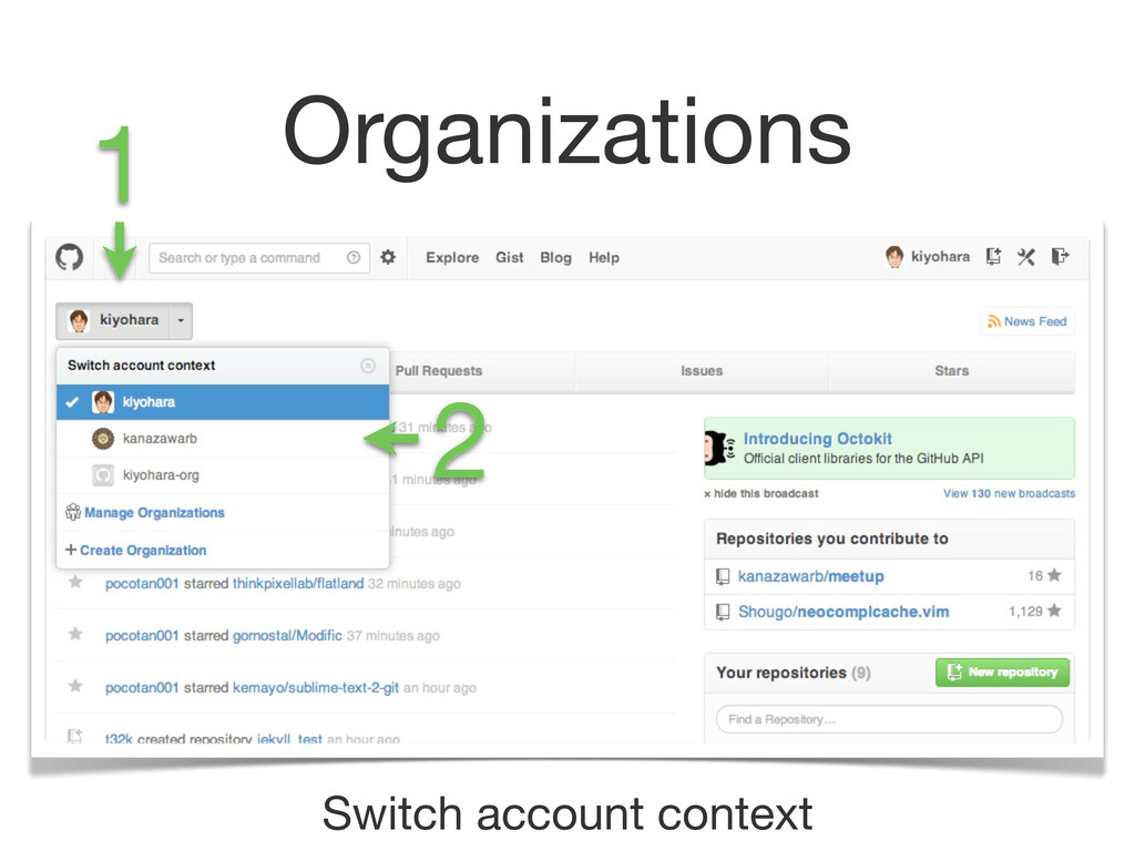 Organizations Switch account context 1 2