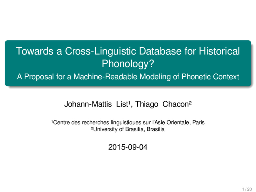 Towards a Cross-Linguistic Database for Histori...