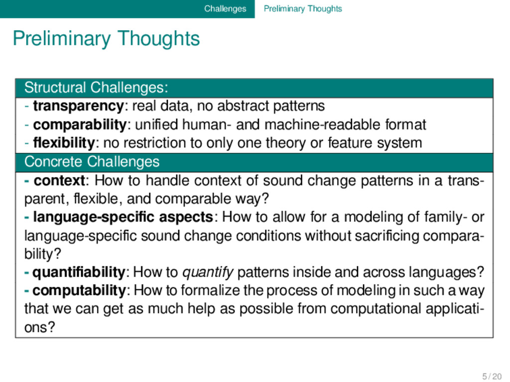 Challenges Preliminary Thoughts Preliminary Tho...