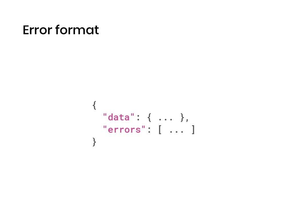 "Error format { ""data"": { ... }, ""errors"": [ ......"
