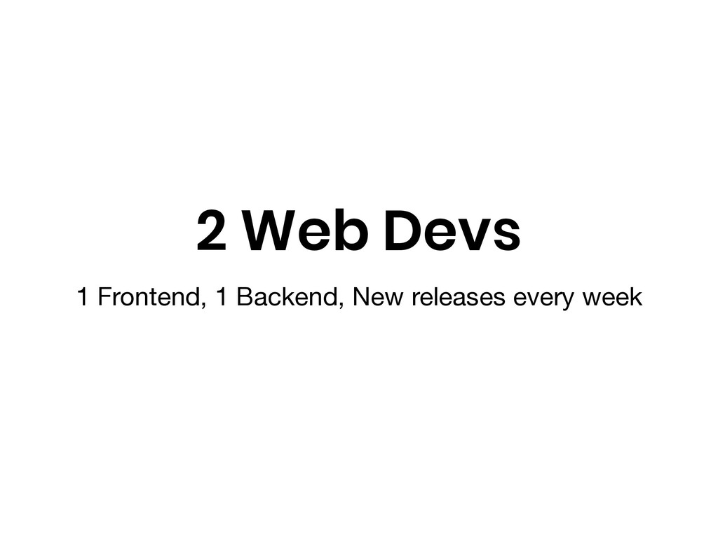 2 Web Devs 1 Frontend, 1 Backend, New releases ...