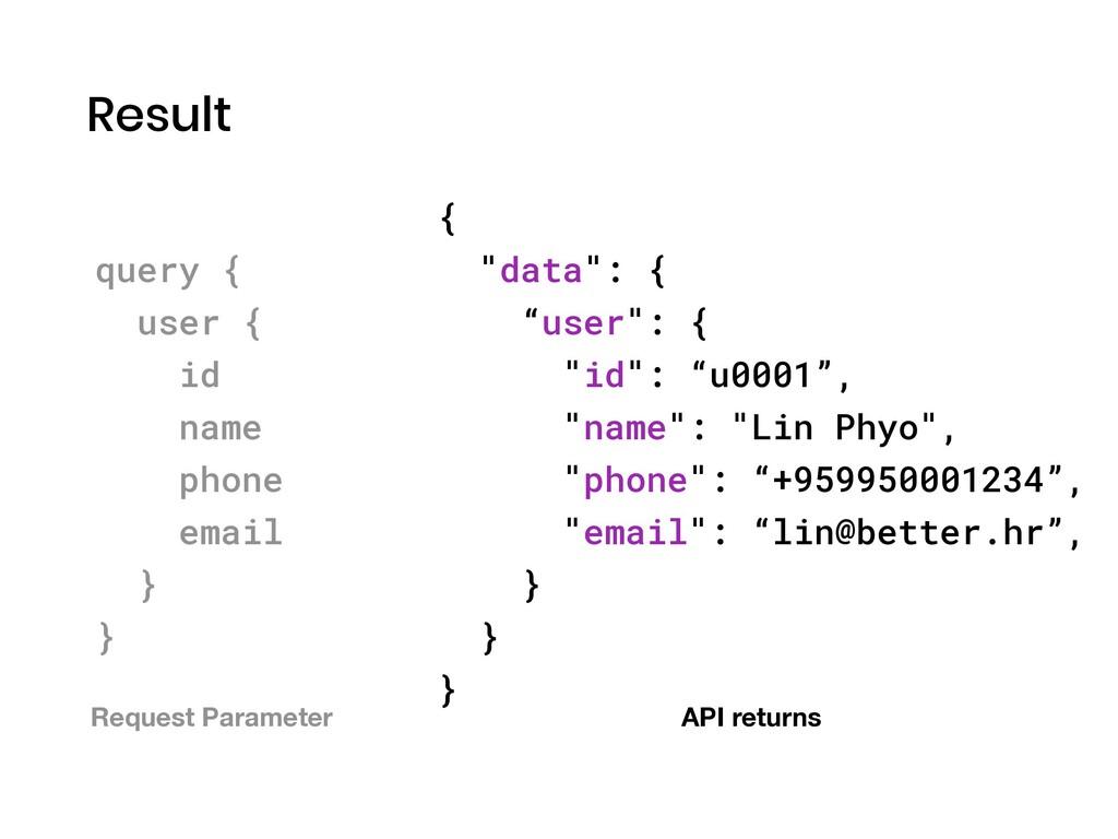 "Result { ""data"": { ""user"": { ""id"": ""u0001"", ""na..."