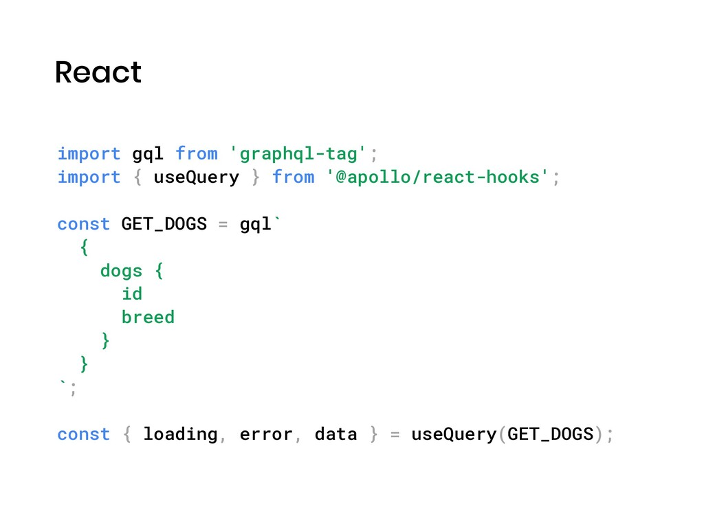 React import gql from 'graphql-tag'; import { u...