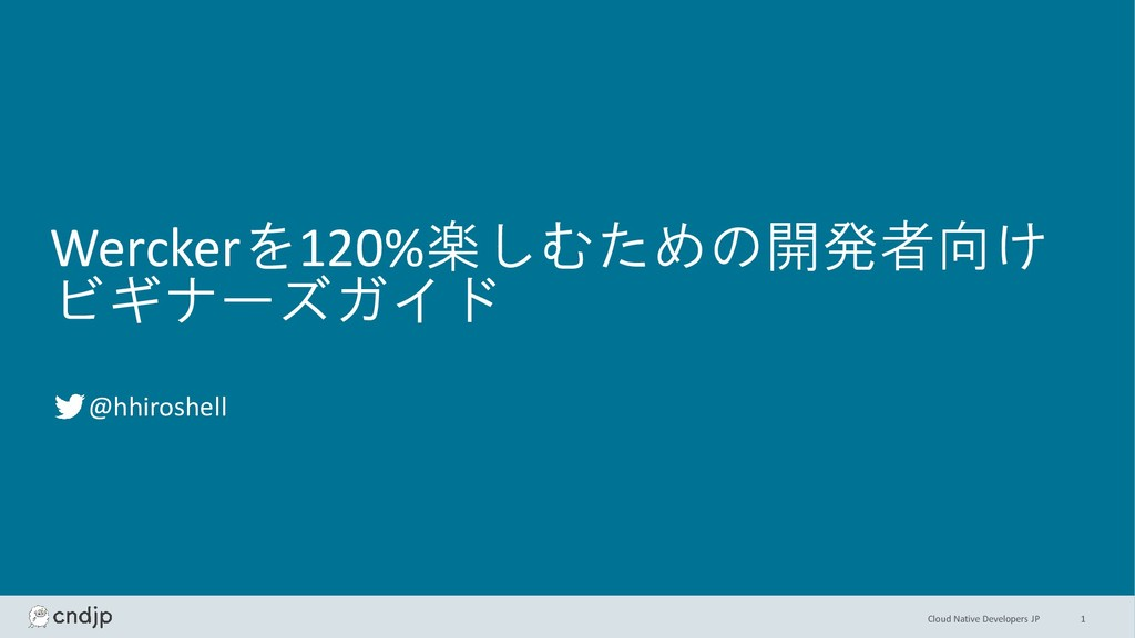Cloud Native Developers JP Werckerを120%楽しむための開発...
