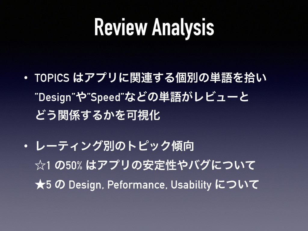 "Review Analysis • TOPICS ΞϓϦʹؔ࿈͢Δݸผͷ୯ޠΛर͍ ""De..."