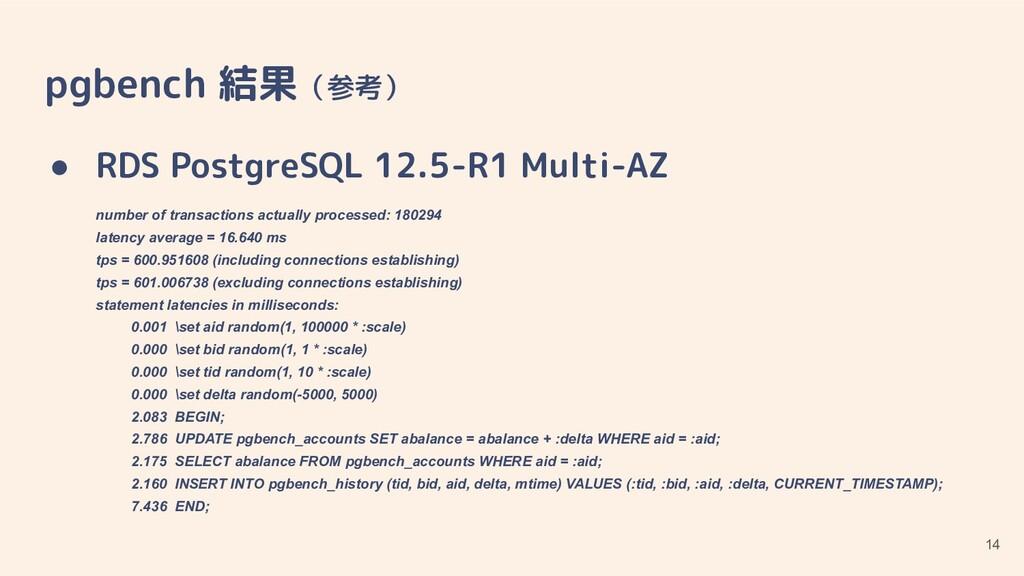 pgbench 結果(参考) ● RDS PostgreSQL 12.5-R1 Multi-A...