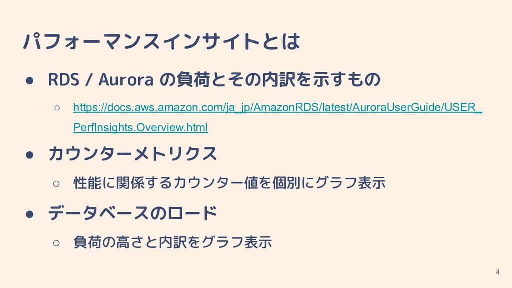 パフォーマンスインサイトとは ● RDS / Aurora の負荷とその内訳を示すもの ○ h...