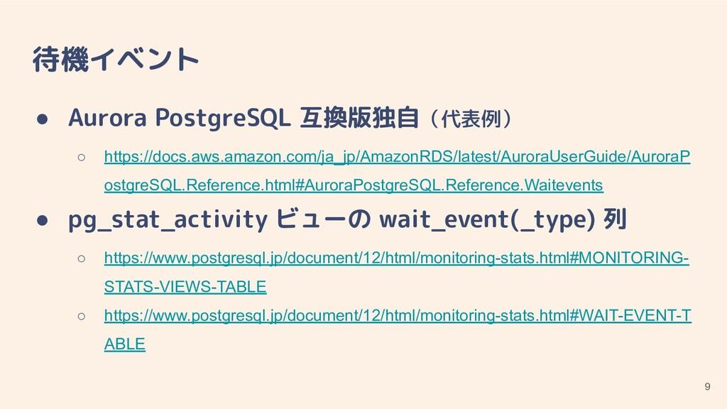 待機イベント ● Aurora PostgreSQL 互換版独自(代表例) ○ https:/...