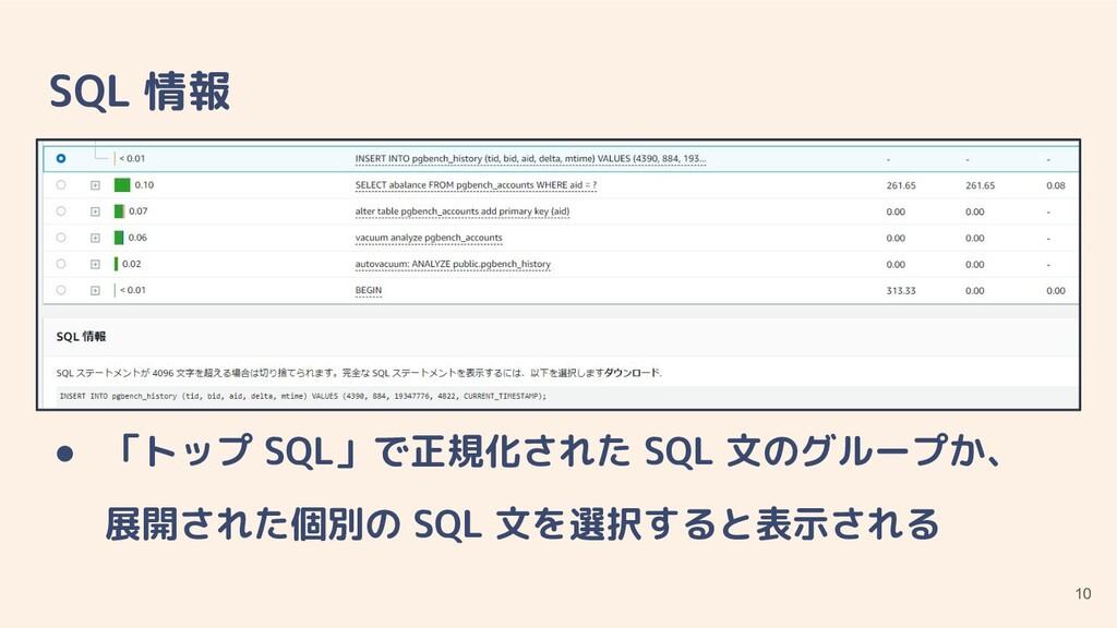 SQL 情報 ● ● 「トップ SQL」で正規化された SQL 文のグループか、 展開された個...
