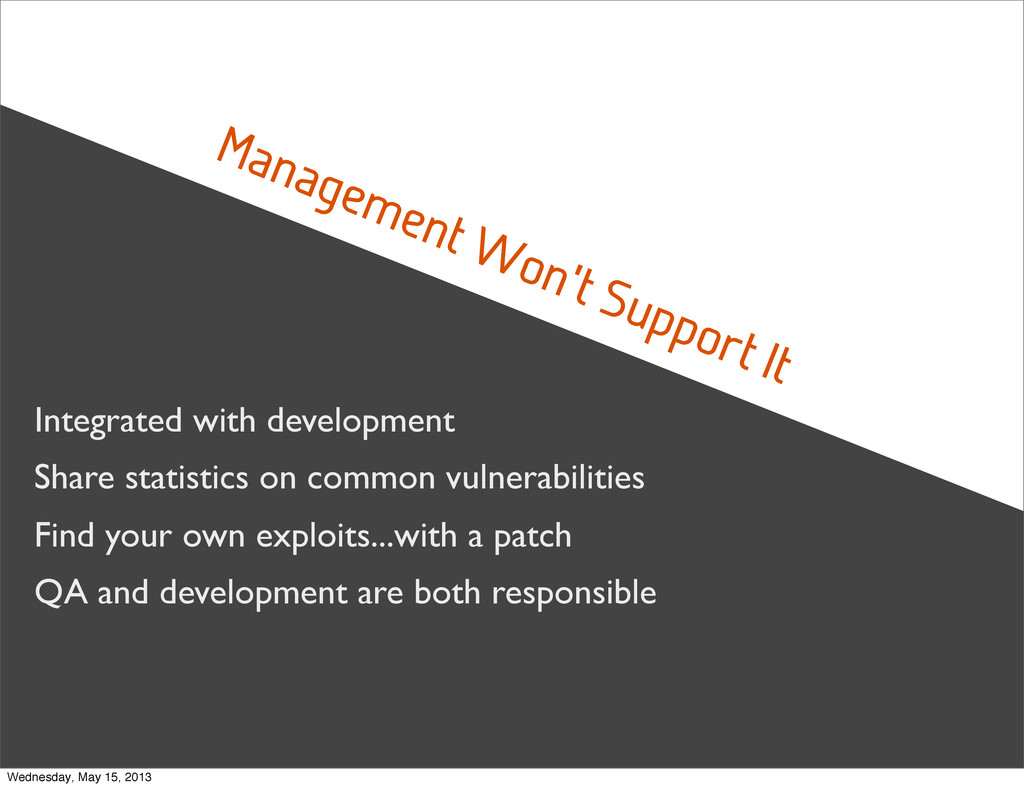 Management Won't Support It Integrated with dev...