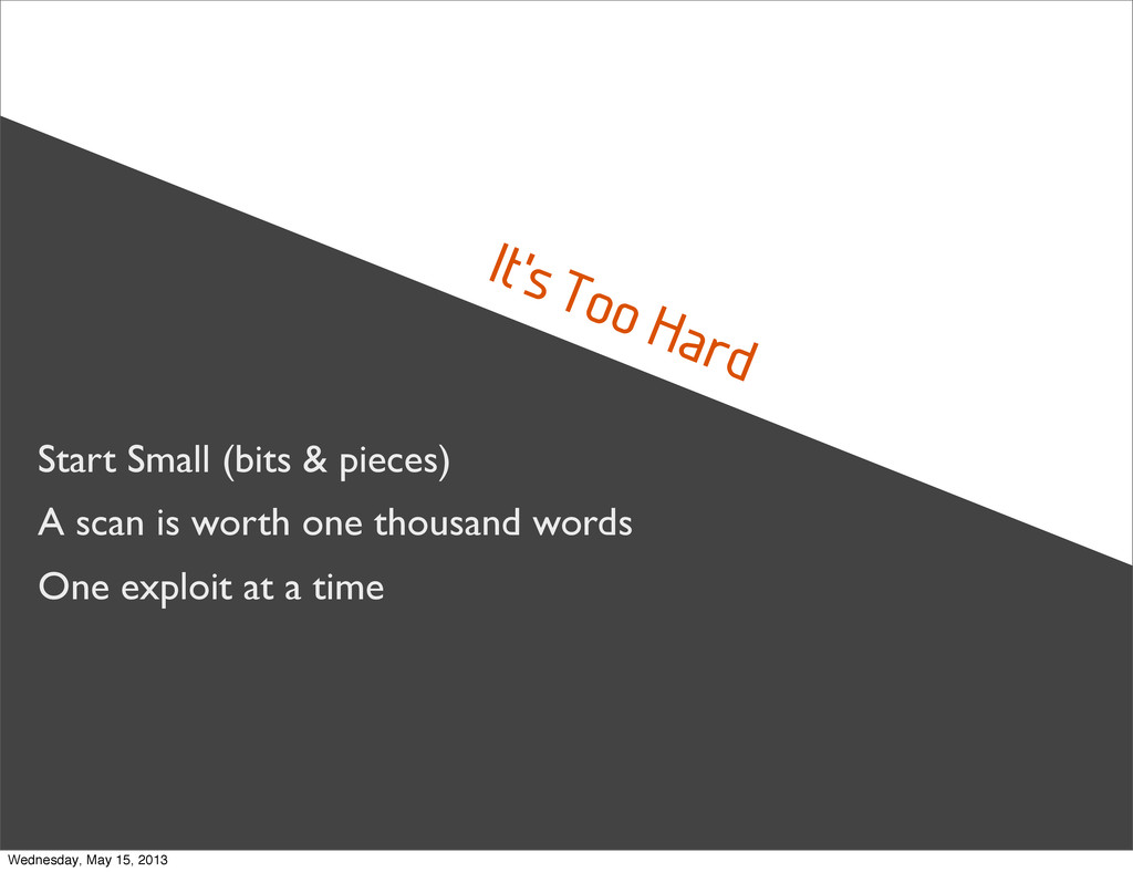 It's Too Hard Start Small (bits & pieces) A sca...