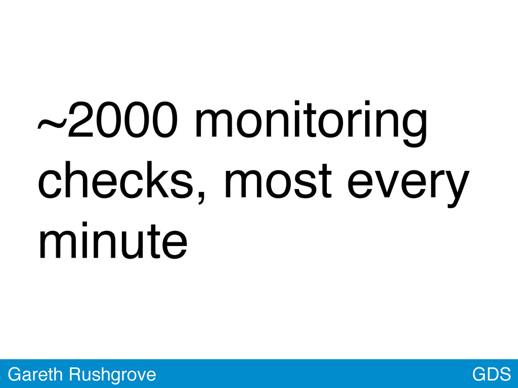~2000 monitoring checks, most every minute GDS ...