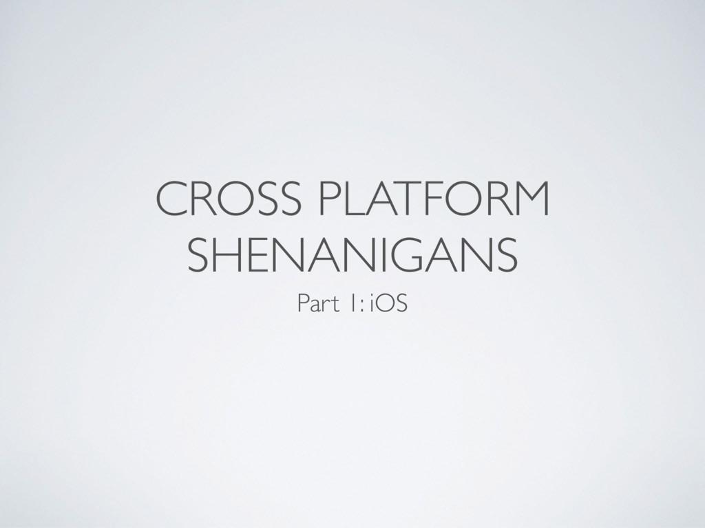CROSS PLATFORM SHENANIGANS Part 1: iOS